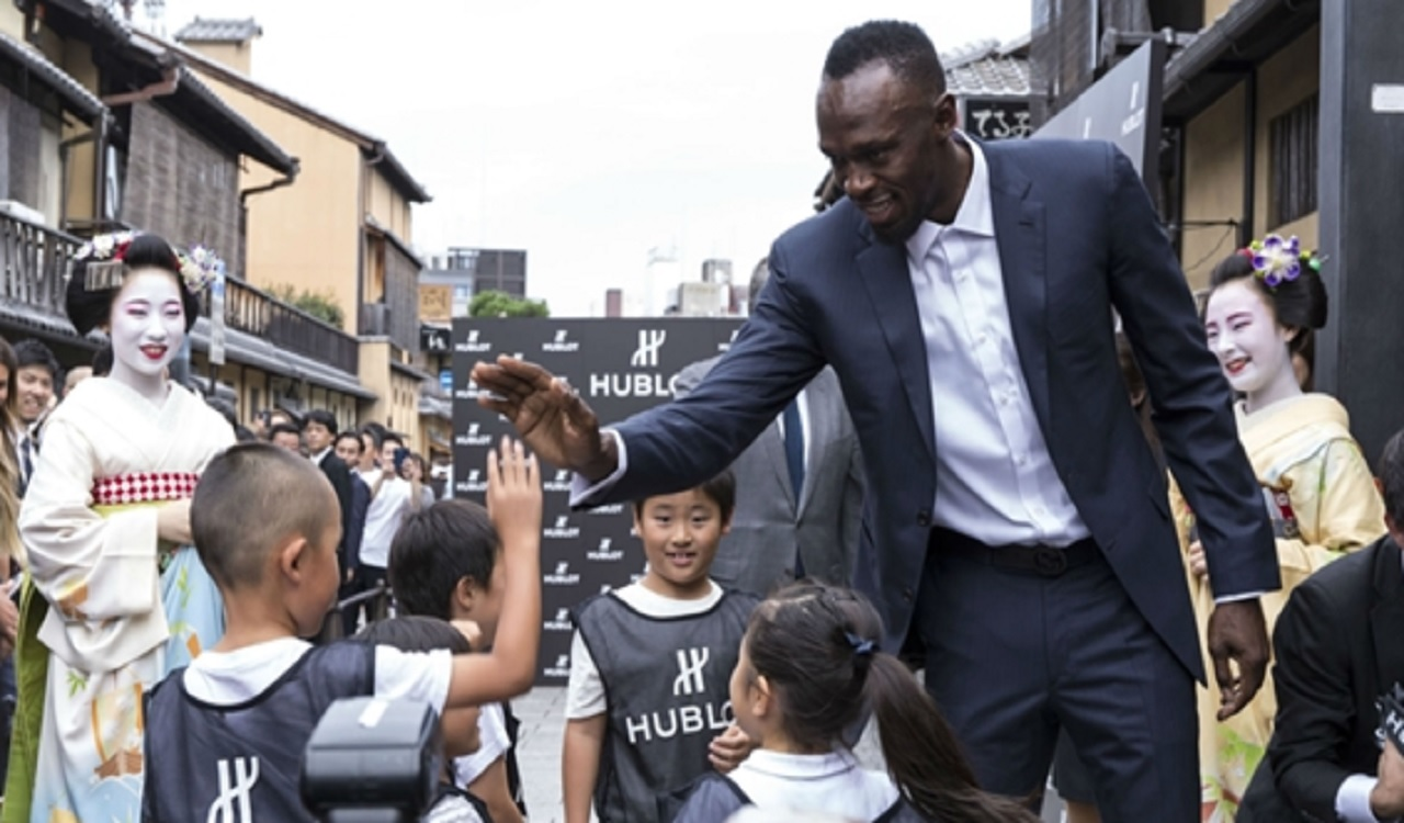 Usain Bolt at the opening of the new Hublot boutique in Kyoto, Japan.
