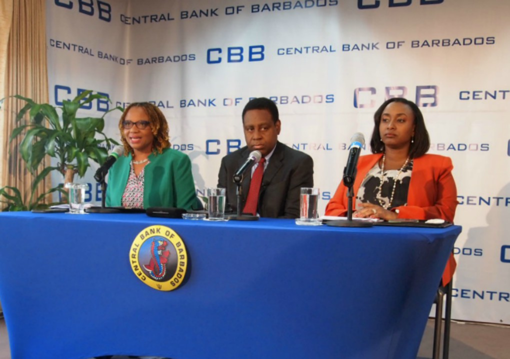 (L-R) Novaline Brewster, Public Affairs Officer at the Central Bank of Barbados (CBB); Acting Governor of the Central Bank, Cleviston Haynes and  Deputy Governor, Michelle Doyle-Lowe.