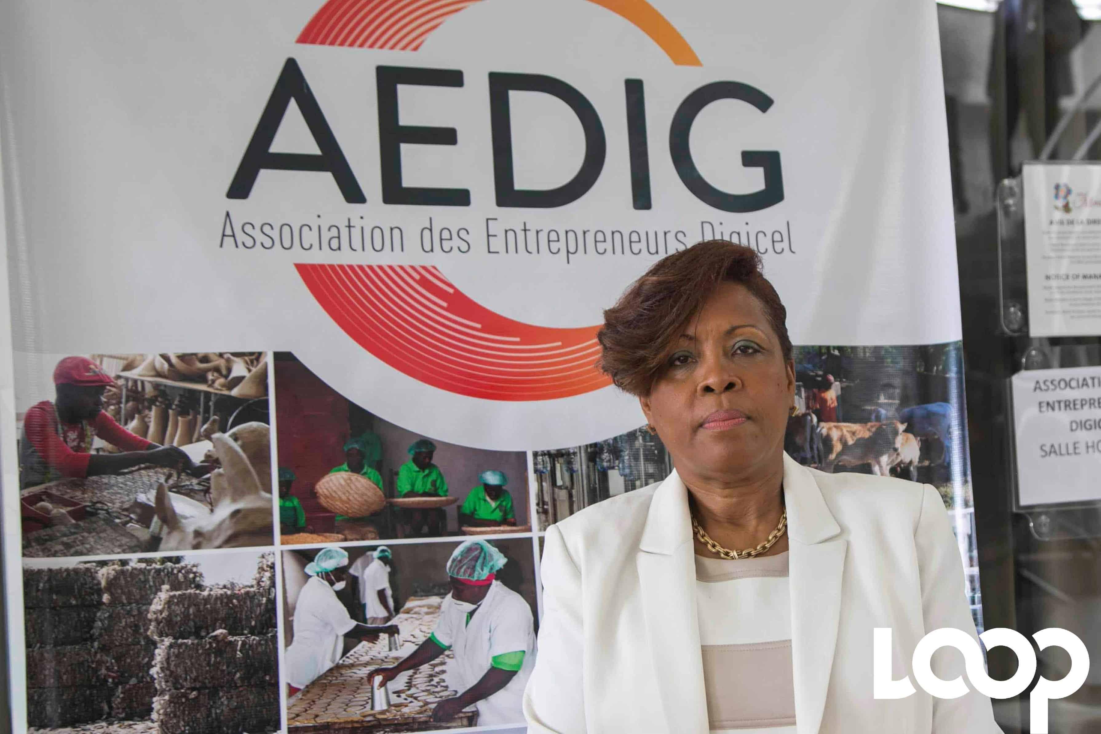 Myrtha Vilbon, présidente de l'Association des Entrepreneurs Digicel (AEDIG). Photo et vidéo, Estailove St-Val/LoopHaiti
