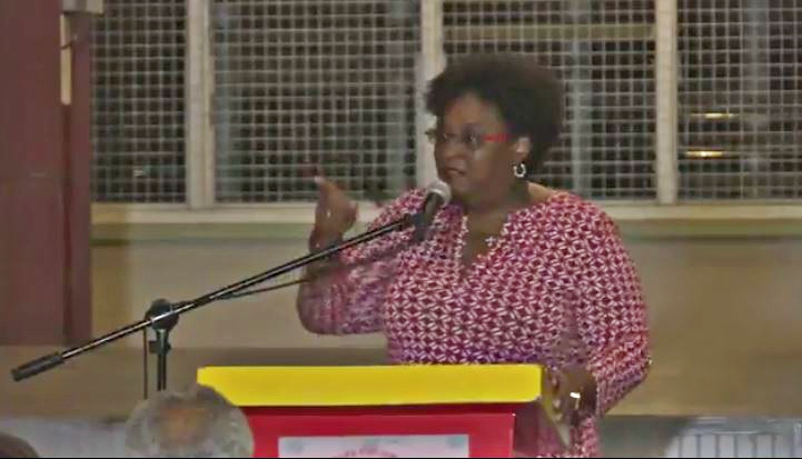 Opposition Leader, Mia Mottley, at a St Michael South Central branch meeting on Sunday evening.