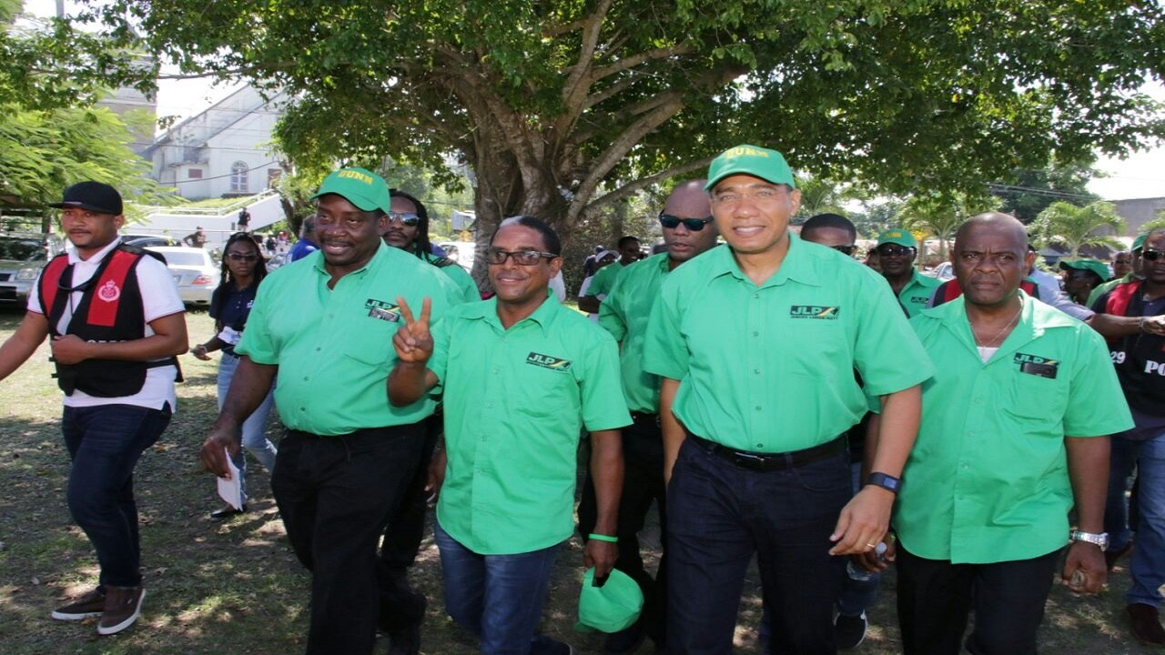 Jamaica Labour Party candidate for South East St Mary, Dr Norman Dunn (centre), with party leader and Prime Minister Andrew Holness(second right), and chairman Robert Montague (second left) on Nomination Day for the October 30 by-election. (Photos: Llewellyn Wynter)