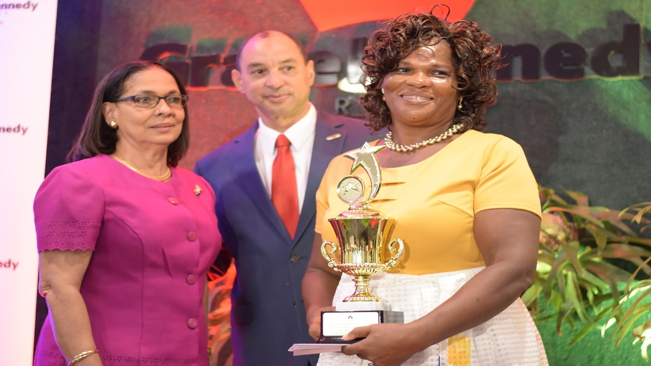 Cherrilene Williams-Case, who won the female household worker of the year award, with Labour Minister Shahine Robinson and GraceKennedy boss Don Wehby. (PHOTOS: Marlon Reid)
