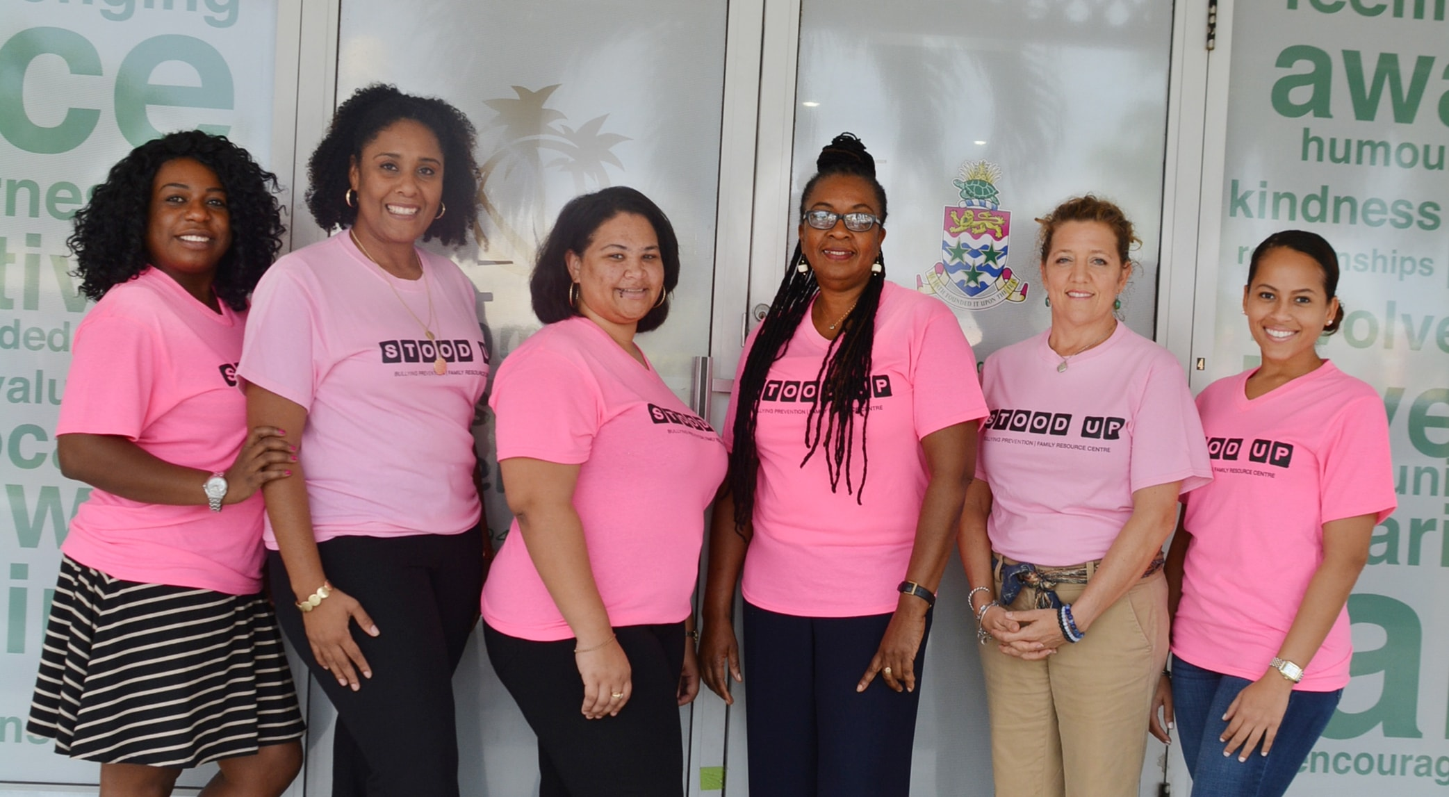 Family Resource Centre staff. Racquel Duhaney, Charmaine Miller, Jessica Smith, Brenda Dawkins, Miles Ruby and Erin Hislop.