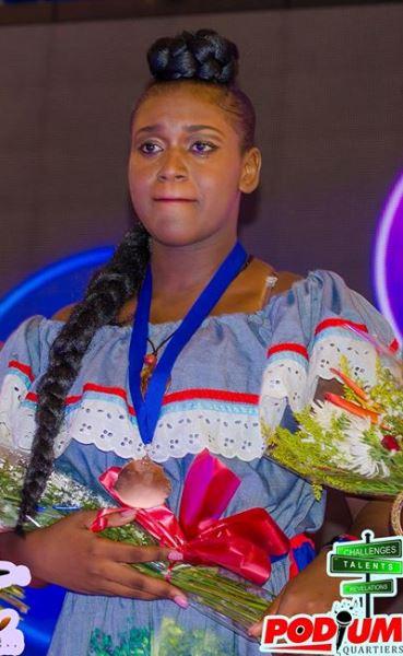 Jenny Sarah Abellard, gagnante de la première édition du concours Podium Quartiers./Photo: compte facebook officiel du concours