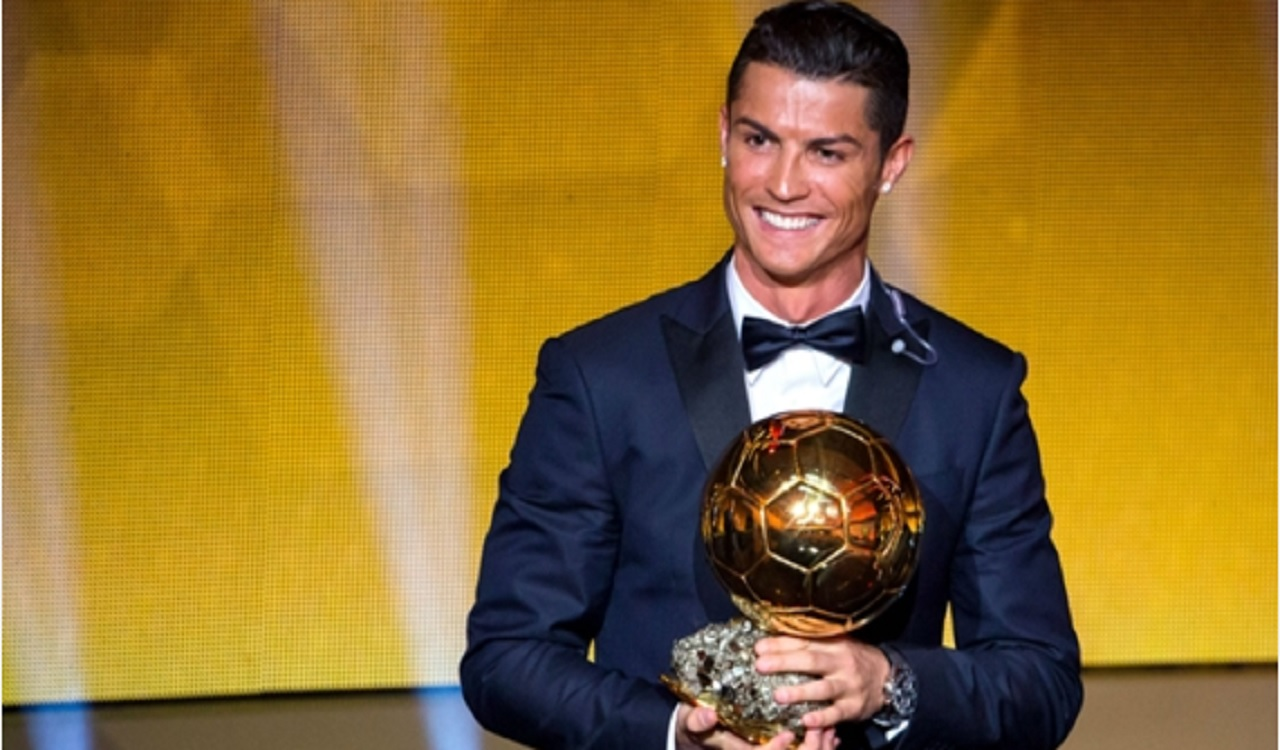 Cristiano Ronaldo with the Ballon d'Or.