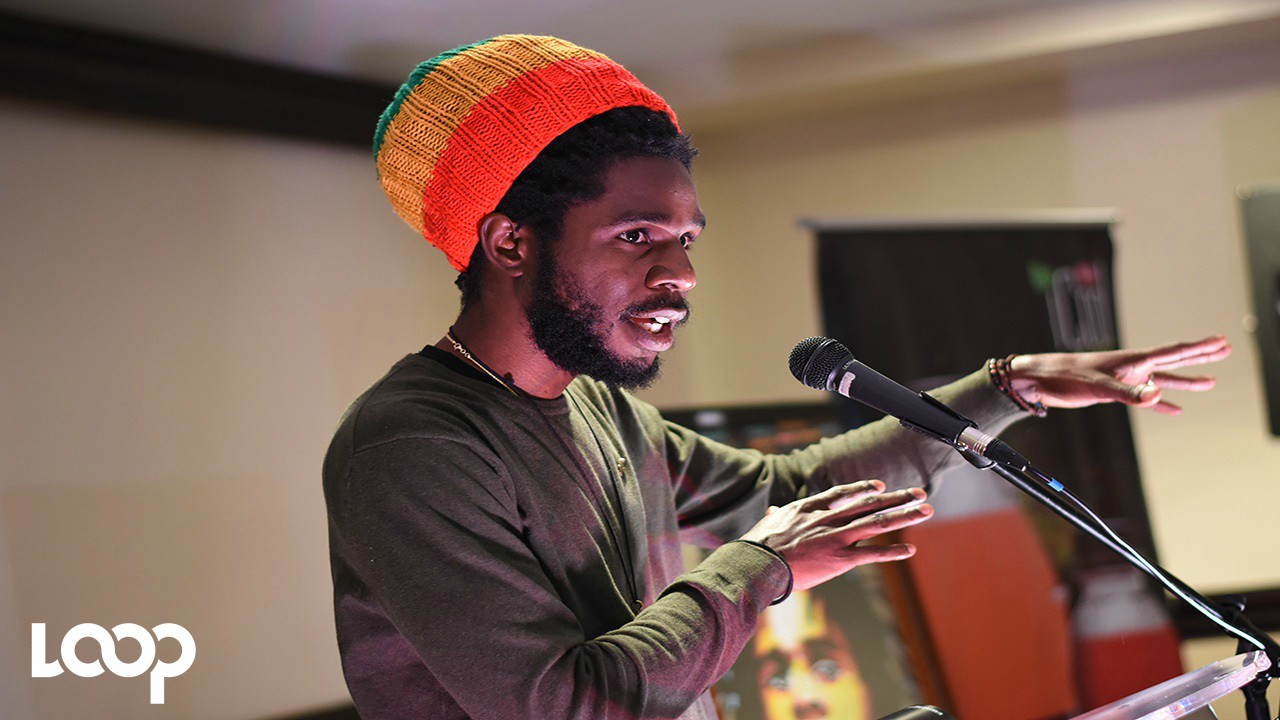 Chronixx speaks at the launch of the Caribbean Chronology Tour on Wednesday. (PHOTO: Marlon Reid)