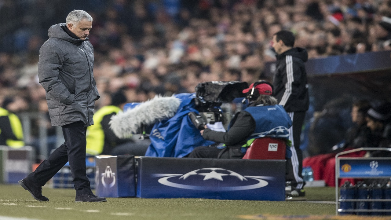 Manchester United's head coach Jose Mourinho walks by the side of the pitch, during the Champions League Group A football match against Switzerland's FC Basel at the St. Jakob-Park stadium in Basel, Switzerland, Wednesday, Nov. 22, 2017.