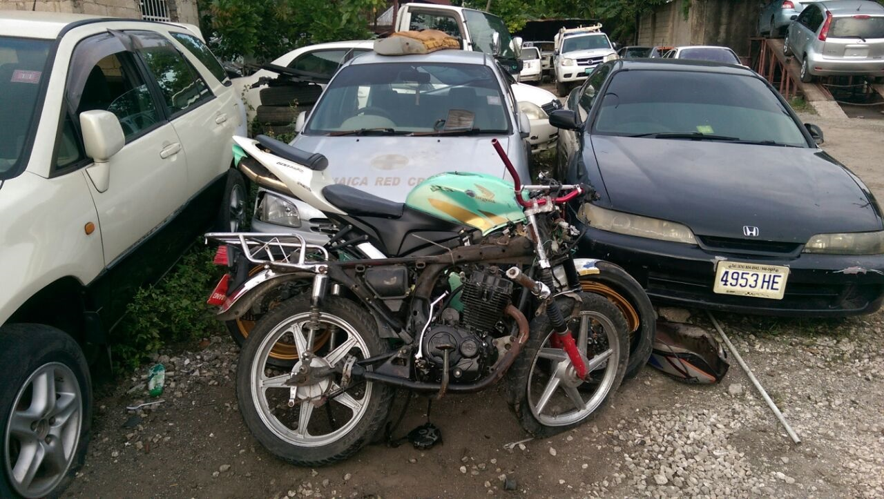 A damaged motorcycle that was reportedly involved in the accident.