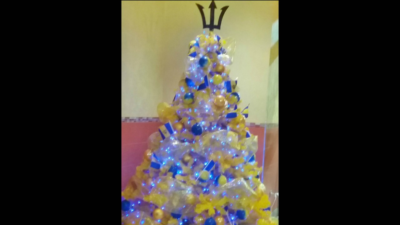 Have you noticed Christmas trees decorated in Barbados' national colours?