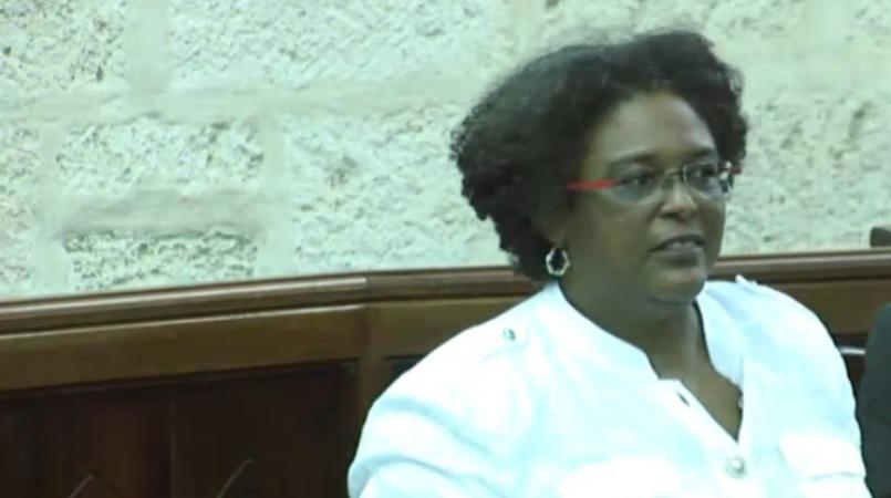 FILE - Leader of the Opposition, Mia Mottley.