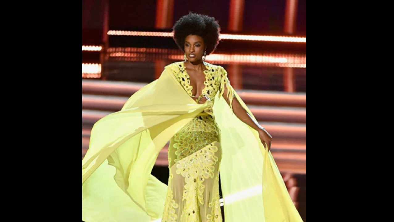 Miss Jamaica Davina Bennett competes at the Miss Universe pageant Sunday, in Las Vegas. (AP Photo/John Locher)