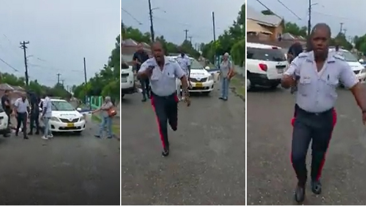 Screenshot of video purportedly showing a cop attacking a man who was recording him.
