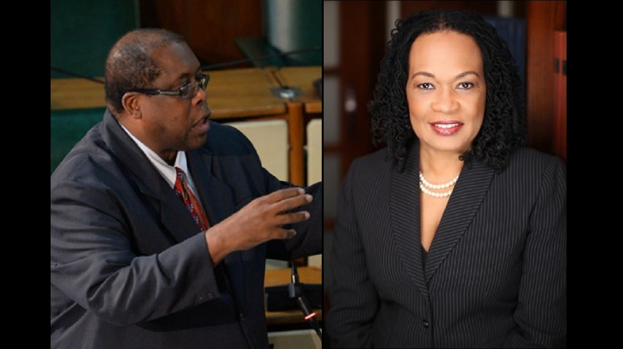 Senators Lambert Brown and Donna Scott-Mottley.