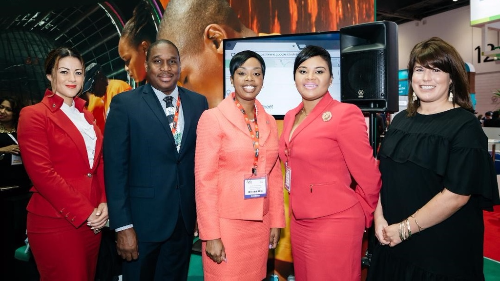 From left: A representative from Virgin Atlantic, Louis Lewis, Chief Executive Officer, Tobago Tourism Agency, Councillor Nadine Stewart-Phillips, Secretary of Tourism, Culture and Transportation, Tobago House of Assembly, the Honourable Shamfa Cudjoe, Minister of Tourism, Ministry of Tourism and Lizzy Davis, Content Creator, Virgin Atlantic.