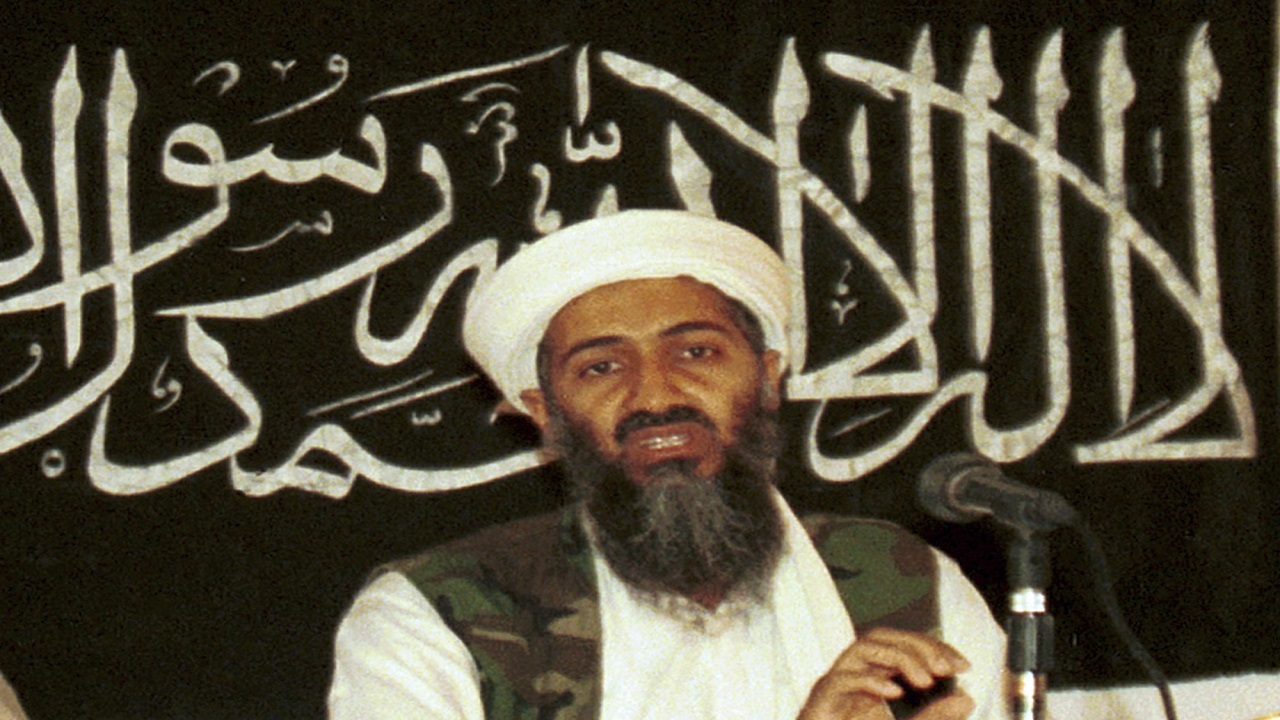 In this 1998 file photo made available on March 19, 2004, Osama bin Laden is seen at a news conference in Khost, Afghanistan.