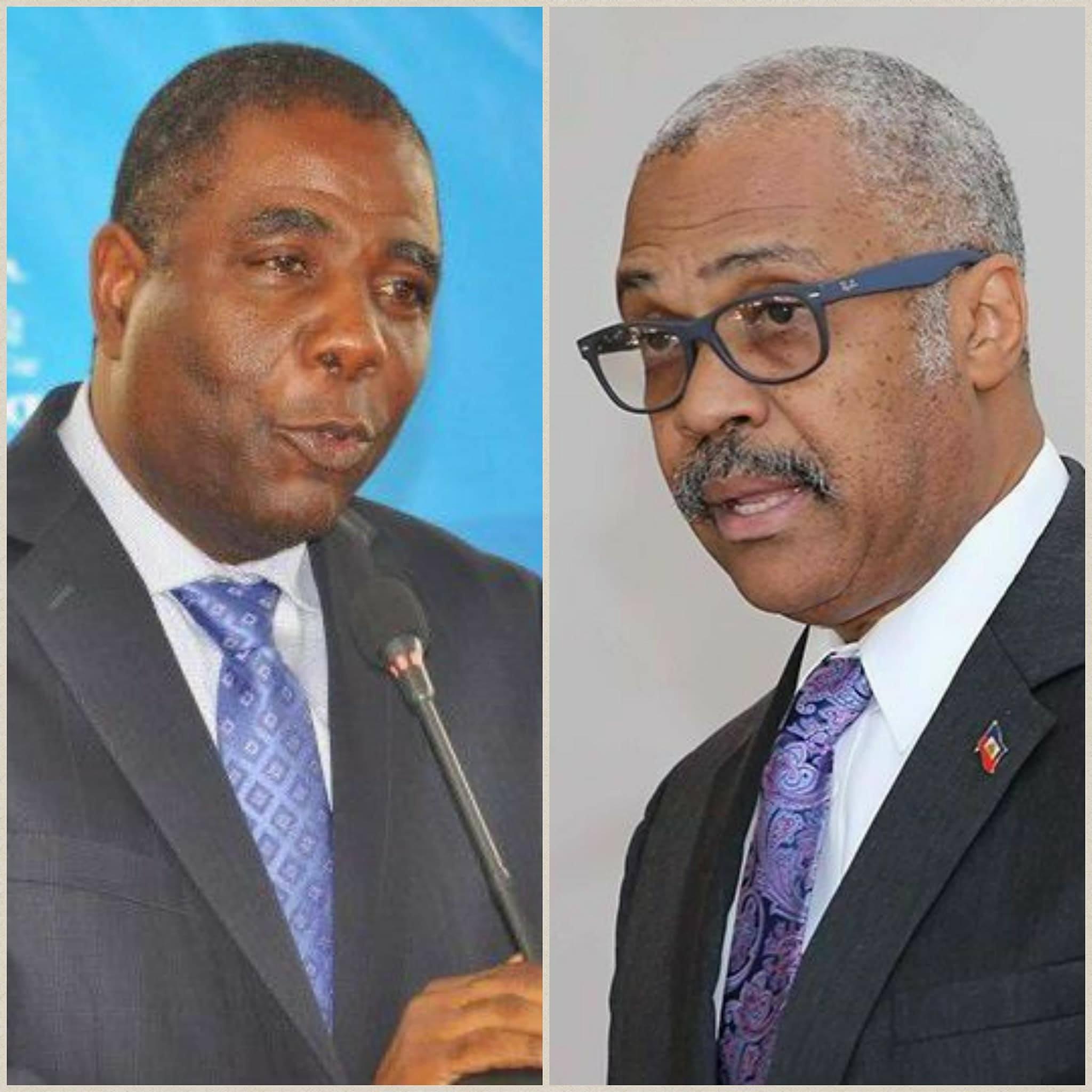 L'ancien premier ministre Enex Jean Charles et l'actuel premier ministre Jack Guy Lafontant.