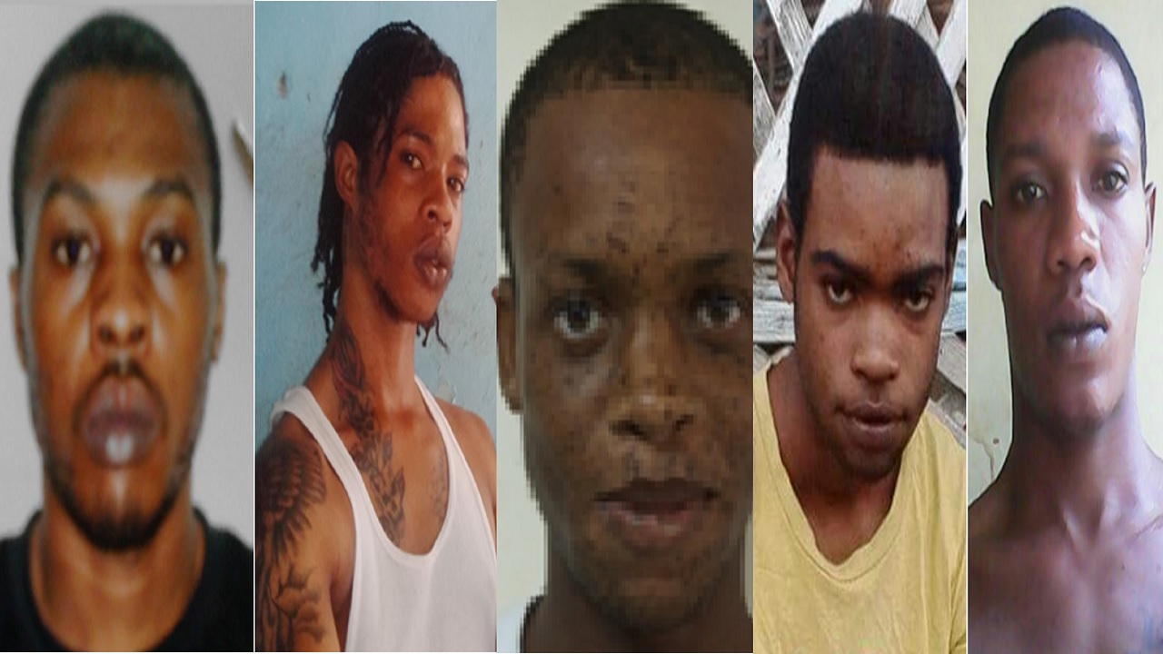 The top five most wanted men, left to right, Charles Hamilton, Ryan Peterkin, Nico Walters, Davion Brown and Shanniel Luton.