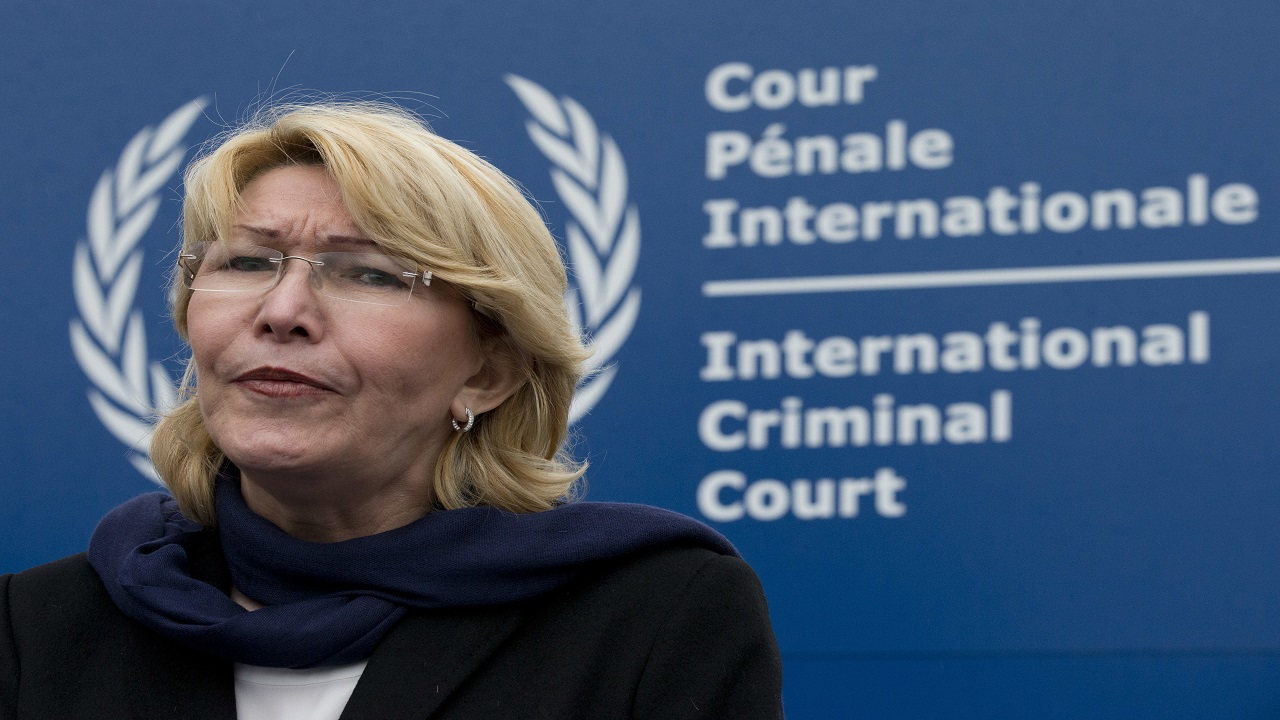 Ousted Venezuelan prosecutor general Luisa Ortega gives a brief statement after presenting evidence denouncing President Maduro for crimes against humanity at the International Criminal Court in The Hague, Netherlands, Thursday, Nov. 16, 2017.