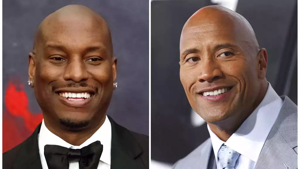 "This combination photo shows Tyrese Gibson at the Black Girls Rock! Awards in Newark, N.J., left, and Dwayne ""The Rock"" Johnson at the premiere of ""Furious 7"" on April 1, 2015, in Los Angeles. (AP Photo/File)"