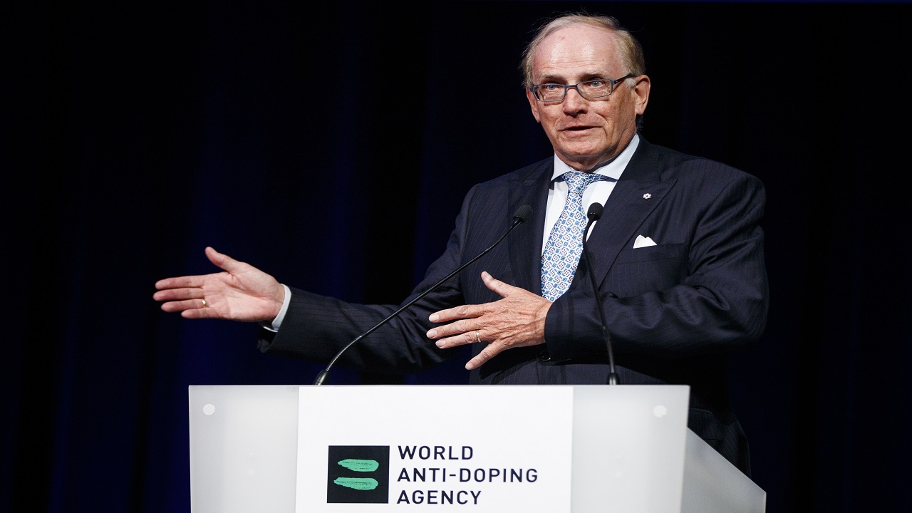 This is a Monday March 13, 2017, file photo showing Richard McLaren speaking at the 2017 world anti-doping agency annual symposium in Lausanne, Switzerland. McLaren's work verifying allegations of systematic cheating by Russia at the 2014 Sochi Games has been vindicated this month by an International Olympic Committee panel that so far has found 22 winter sports athletes guilty.