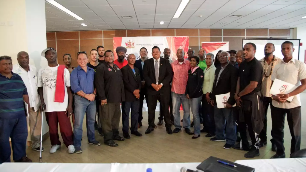 Representatives from various National Governing Bodies (NGBs) as well as former athletes together with The Honourable Darryl Smith, Minister of Sport and Youth Affairs.