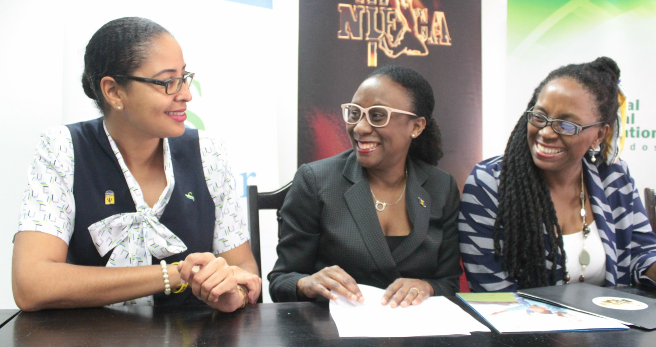 (L-R) Marketing Officer with Sagicor Life Inc, Folayan Taitt; Carolyn Shepherd, Assistant VP of Marketing with Sagicor; and Chief Cultural Officer with the NCF, Andrea Wells.