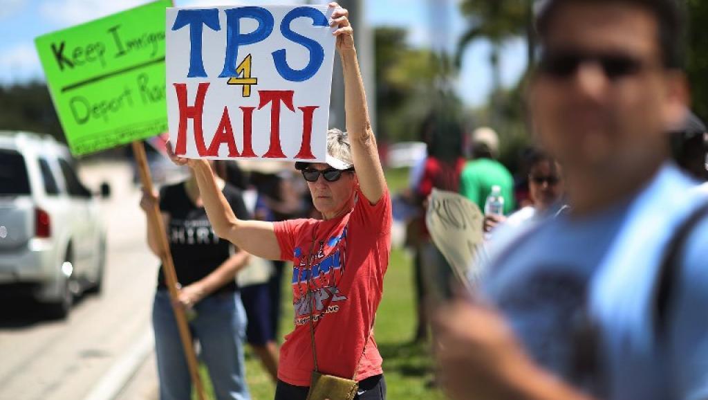 Des manifestants demandent une prolongation du TPS pour les immigrés haïtiens  aux USA. Photo: AFP