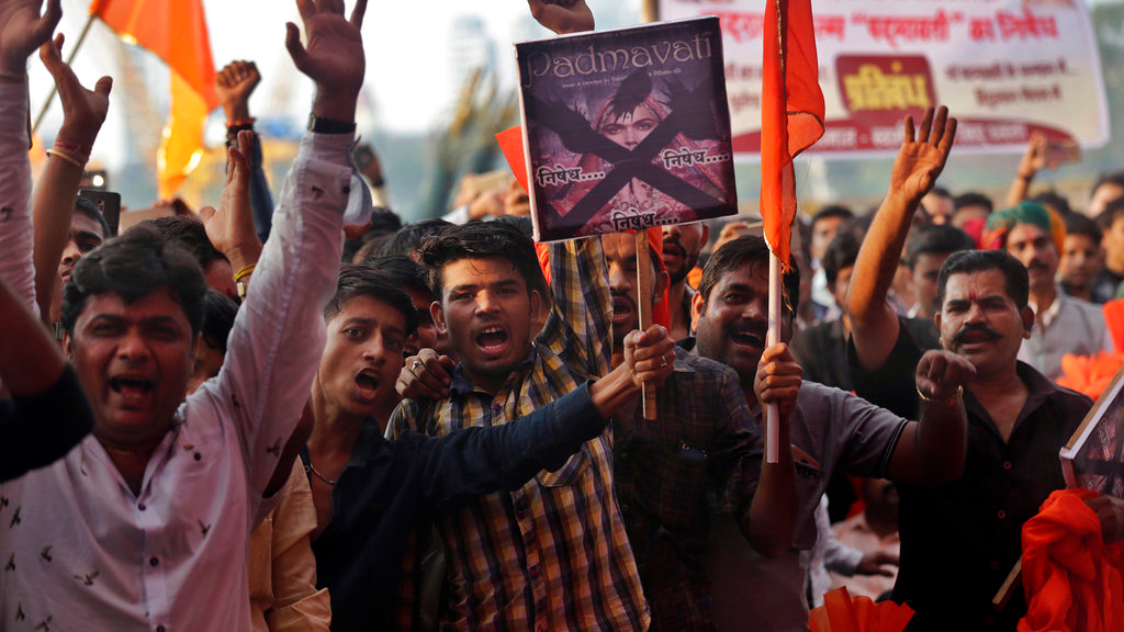 "Members of India's Rajput community shout slogans as they protest against the release of Bollywood film ""Padmavati"" in Mumbai, India, Monday, Nov. 20, 2017. (AP Photo/Rafiq Maqbool)"