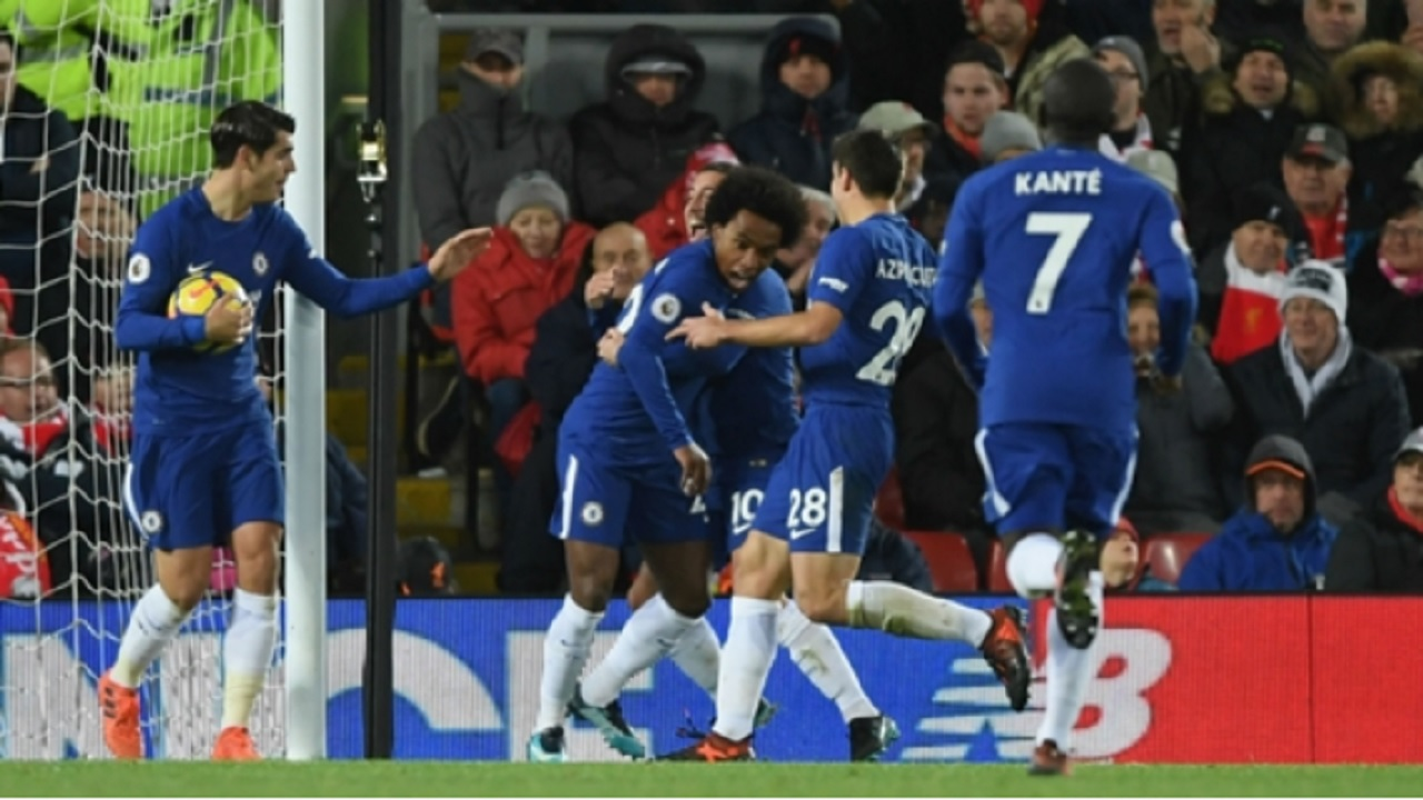 Chelsea celebrate Willian's Anfield equaliser during their English Premier League game against Liverpool on Saturday.
