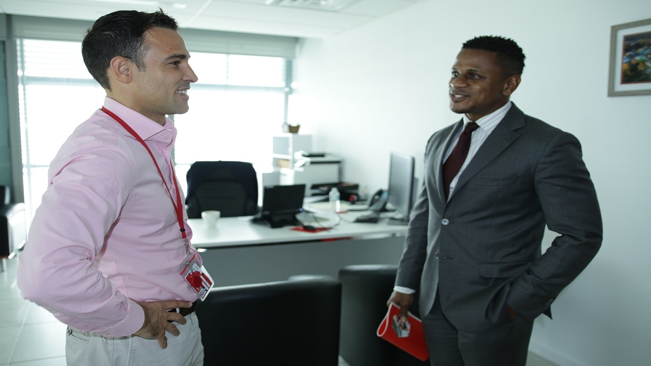 Digicel Jamaica CEO Justin Morin (left) with new US Embassy Counselor for Public Affairs Jeremiah Knight during Knight's visit to the Digicel headquarters. (PHOTOS: Richard Baker)