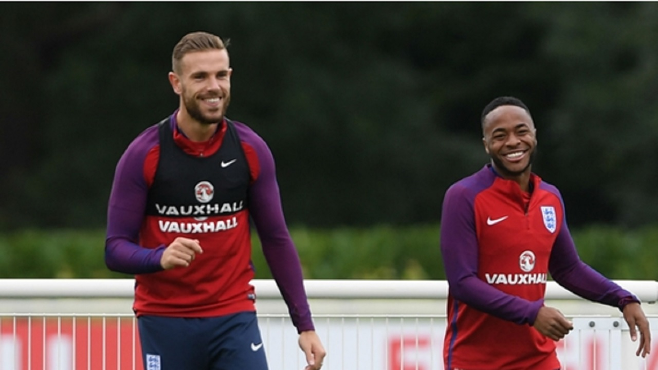 Jordan Henderson and Raheem Sterling on England duty.