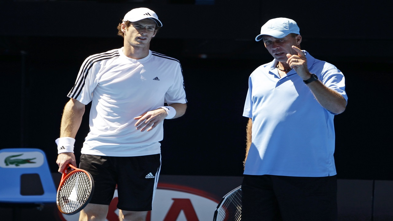 in this Jan. 15, 2012 file photo, Andy Murray of Britain, left, talks with coach Ivan Lendl during a practice session for the Australian Open tennis championship, in Melbourne, Australia.