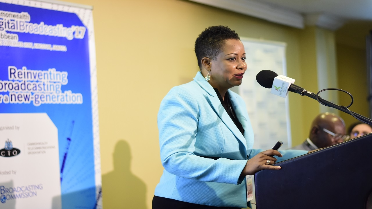 Karlene Salmon addresses  audience members at the Commonwealth Digital Broadcasting forum on Monday. (PHOTOS: Marlon Reid)