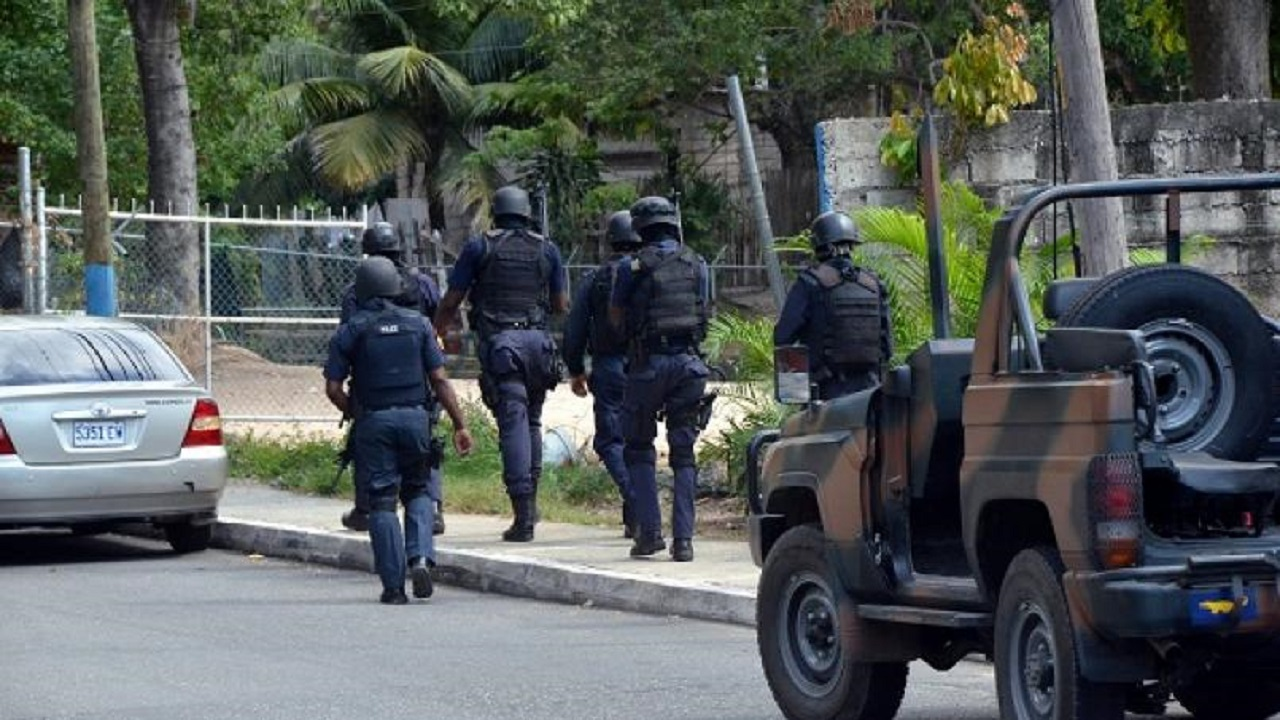 Cops carry out an operation in West Kingston