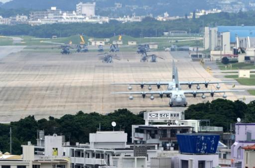 AFP/Archives / TOSHIFUMI KITAMURA  La base américaine de Futenma, le 24 avril 2010 à Ginowan, dans la préfecture d'Okinawa, au Japon