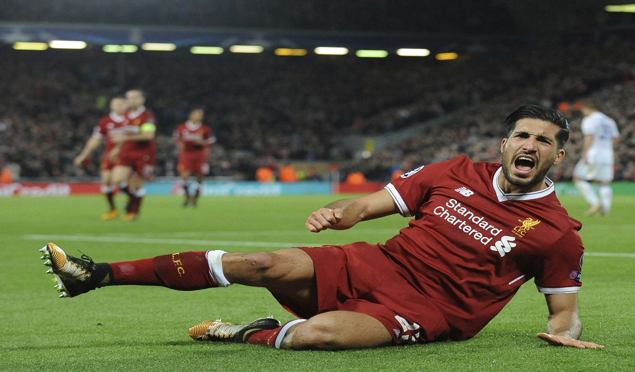 Liverpool's Emre Can celebrates after scoring his side's second goal during the Champions League Group E football match against Maribor at Anfield, Liverpool, England, Wednesday Nov. 1, 2017.