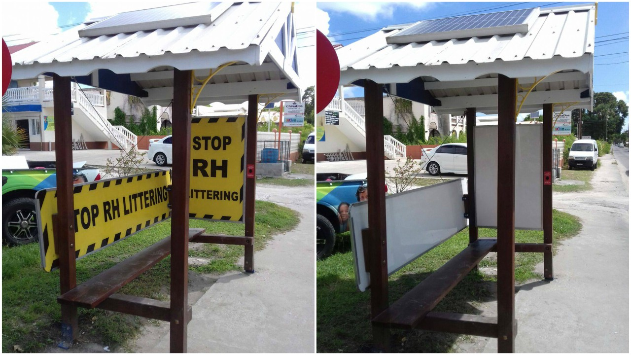 Before and after photos of the Adopt A Stop bus shelter.