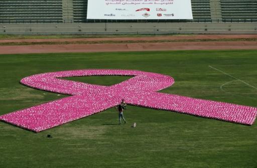 AFP/Archives / ANWAR AMRO  Un ruban rose, symbole de la lutte contre le cancer du sein, constitué de 8.000 ballons de football lors d'un événement pour sensibiliser aux risques de ce cancer féminin, à Beyrouth le 8 octobre 2017