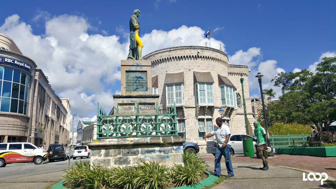 Contractors at the site of the Nelson statue in Bridgetown.