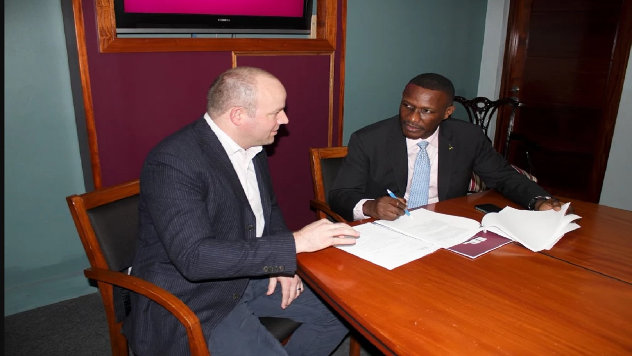 Stocks and Securities Limited (SSL) was selected as lead broker for this deal. Pictured here are SSL's CEO, Mark Croskery (left) FosRich  Managing director Cecil Foster.