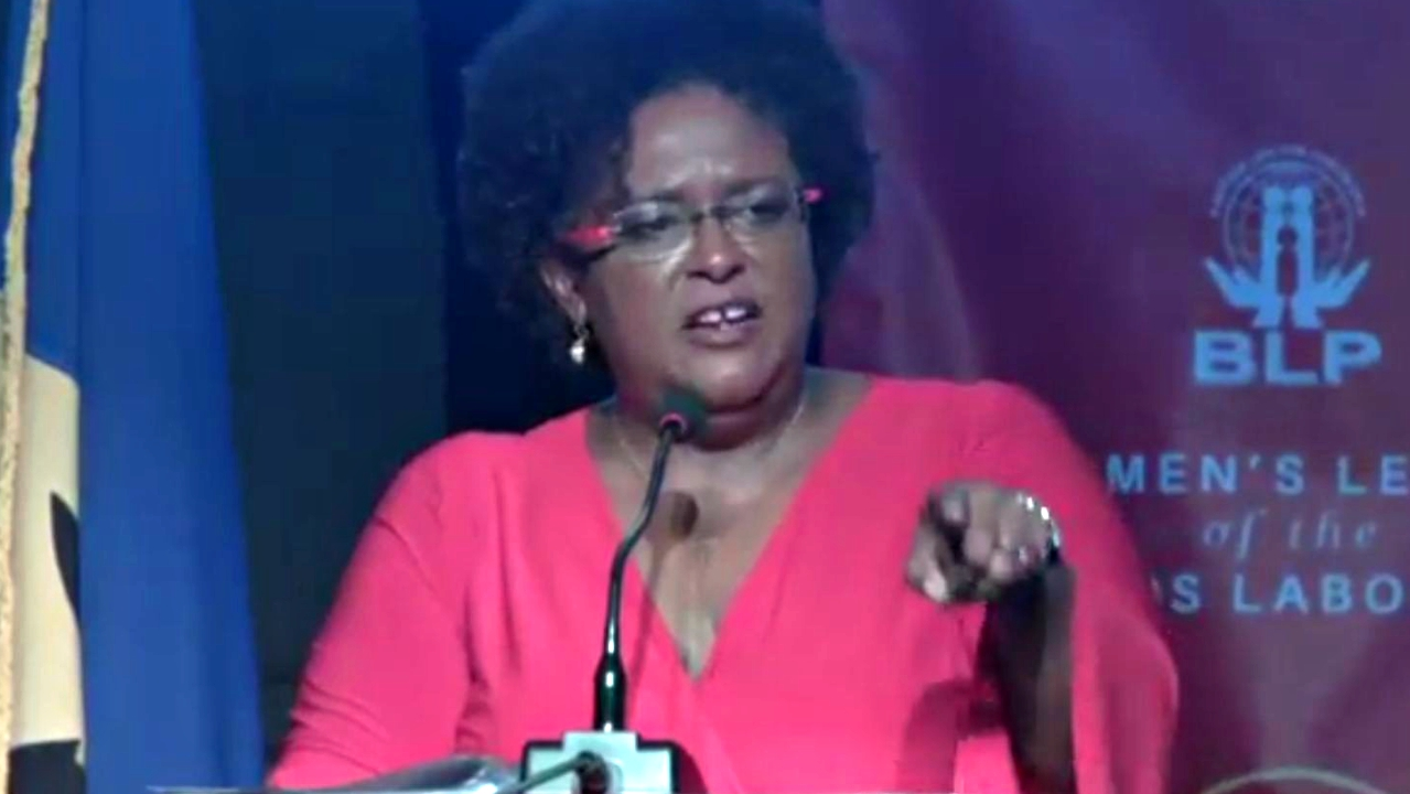 Opposition Leader Mia Mottley speaking at the BLP Annual Conference over the weekend.