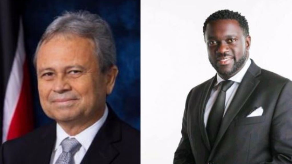 Finance Minister Colm Imbert (left), PSA President Watson Duke (right)