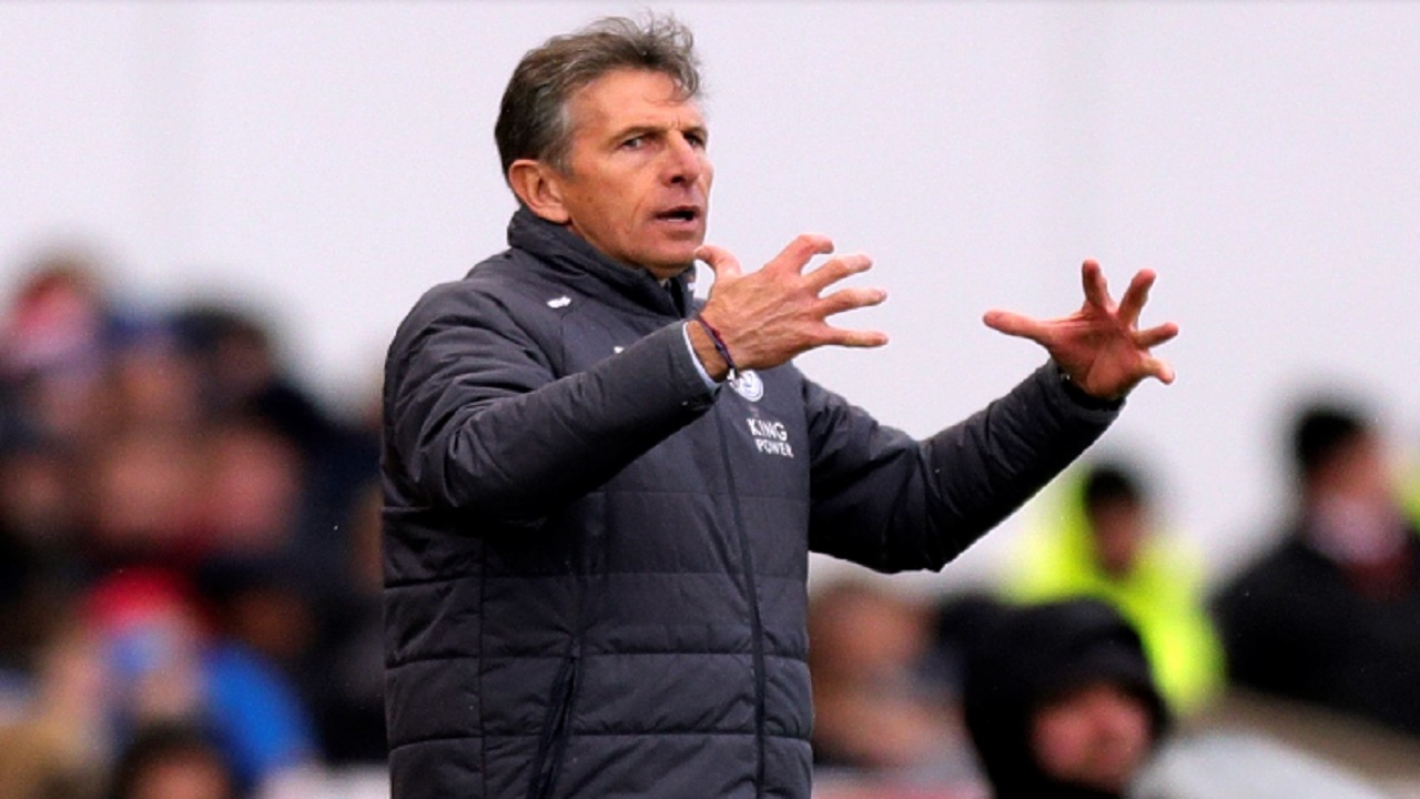Leicester City manager Claude Puel gestures during their English Premier League football match against Stoke City at the bet365 Stadium, Stoke-on-Trent, England, Saturday, Nov. 4, 2017.
