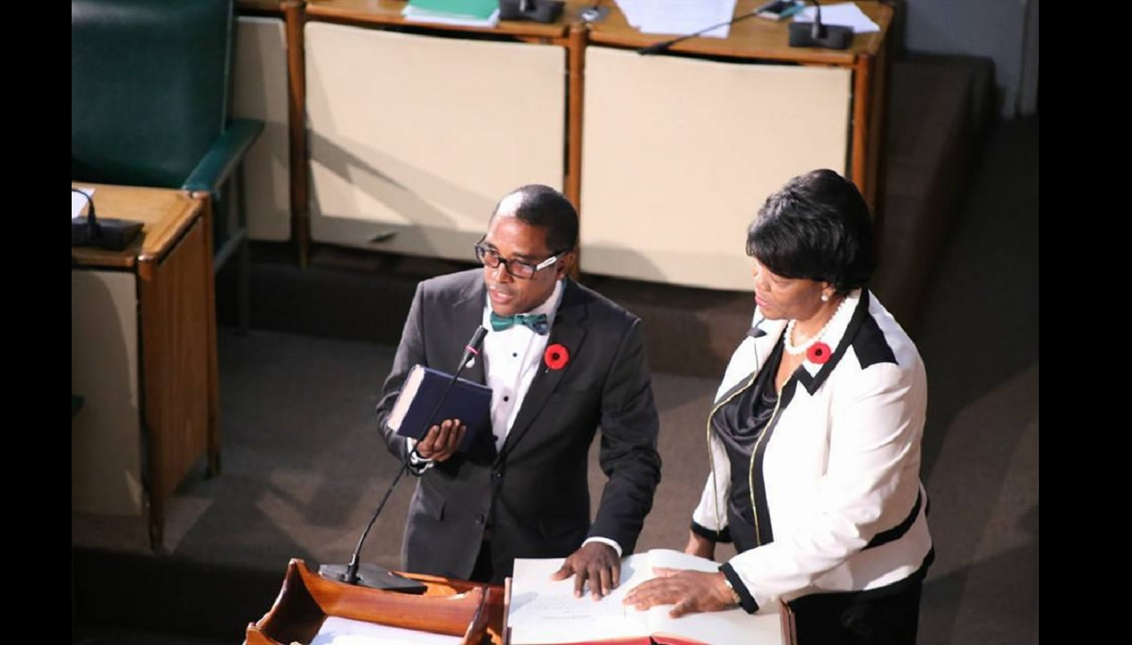 Dr Norman Dunn of the Jamaica Labour Party being sworn in as MP on Tuesday. (PHOTO: Facebook)