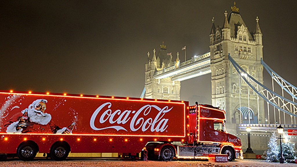 Een speciale 'kersttruck' van Coca-Cola bij de Tower Bridge in London. Foto: Coca Cola UK