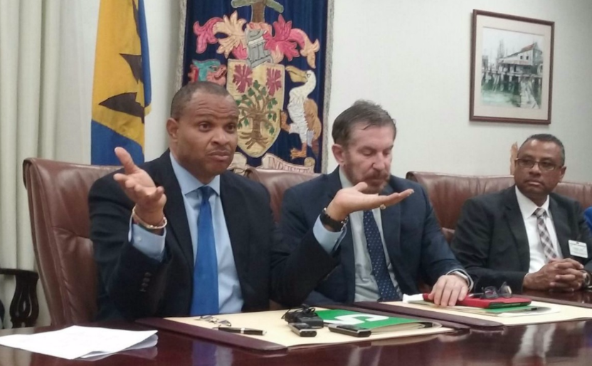 (l-r) Minister of Finance, Chris Sinckler along with Director-Representative for Trinidad and Tobago for CAF, Joel Branski .