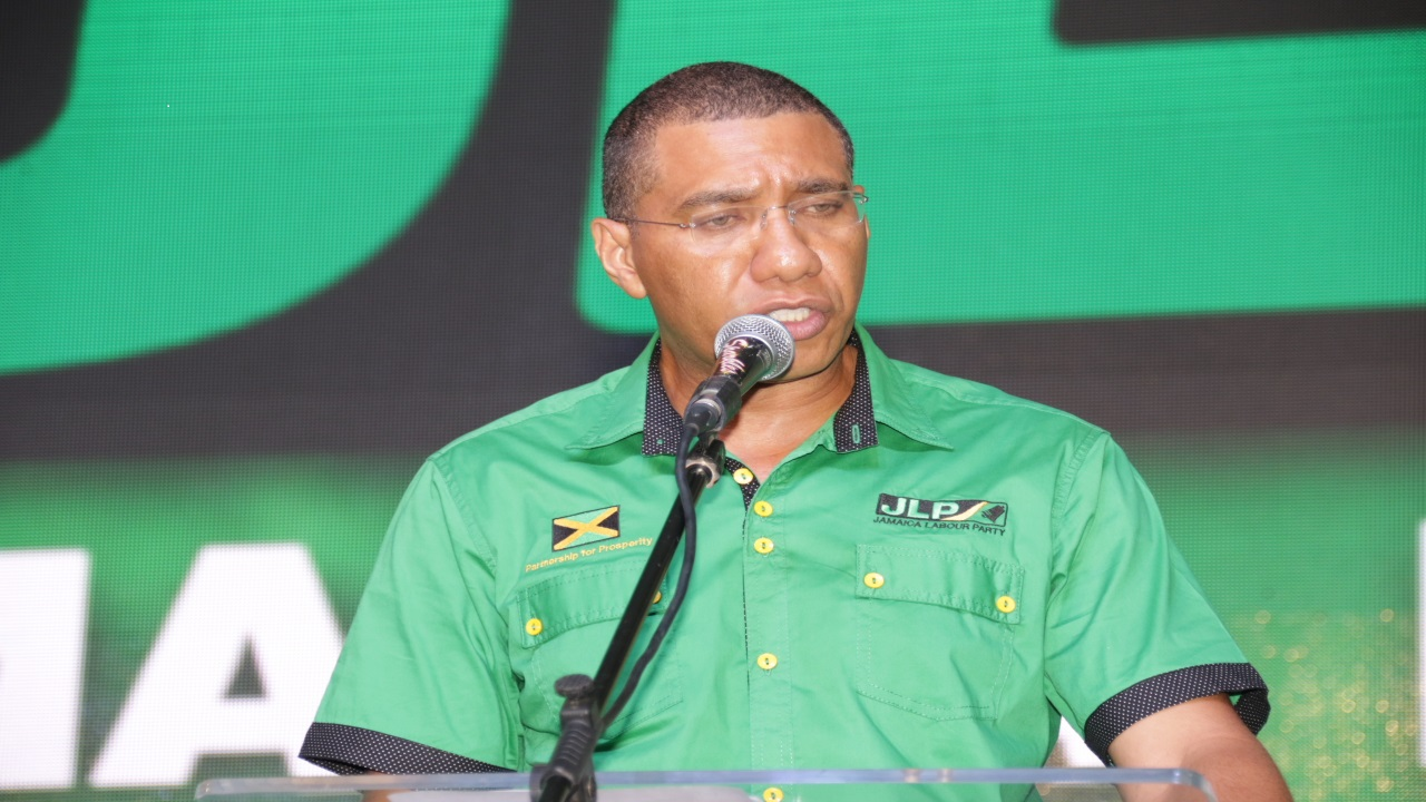 Prime Minister Andrew Holness addresses 'labourites' at Sunday's conference. (PHOTO: Llewellyn Wynter)