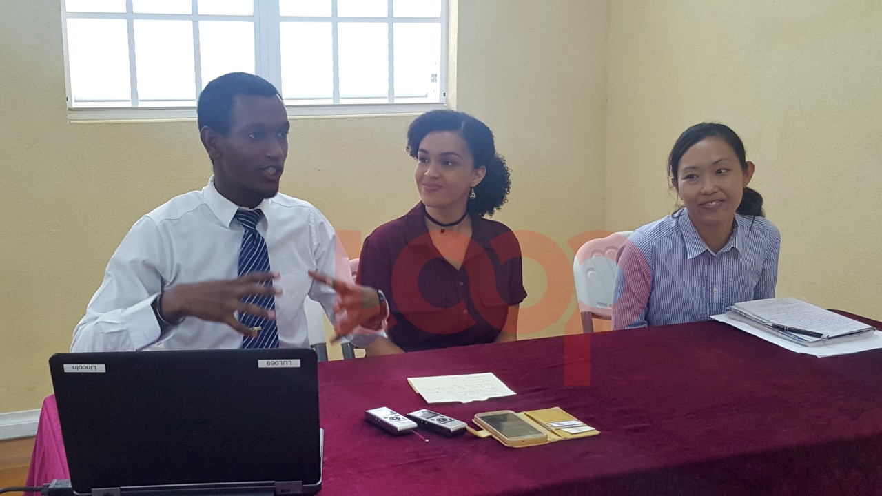 Project Coordinator Linocln Bacchus, Project Manager Esther Thring, and Haruka Kamauchi at the Logos Hope press conference.