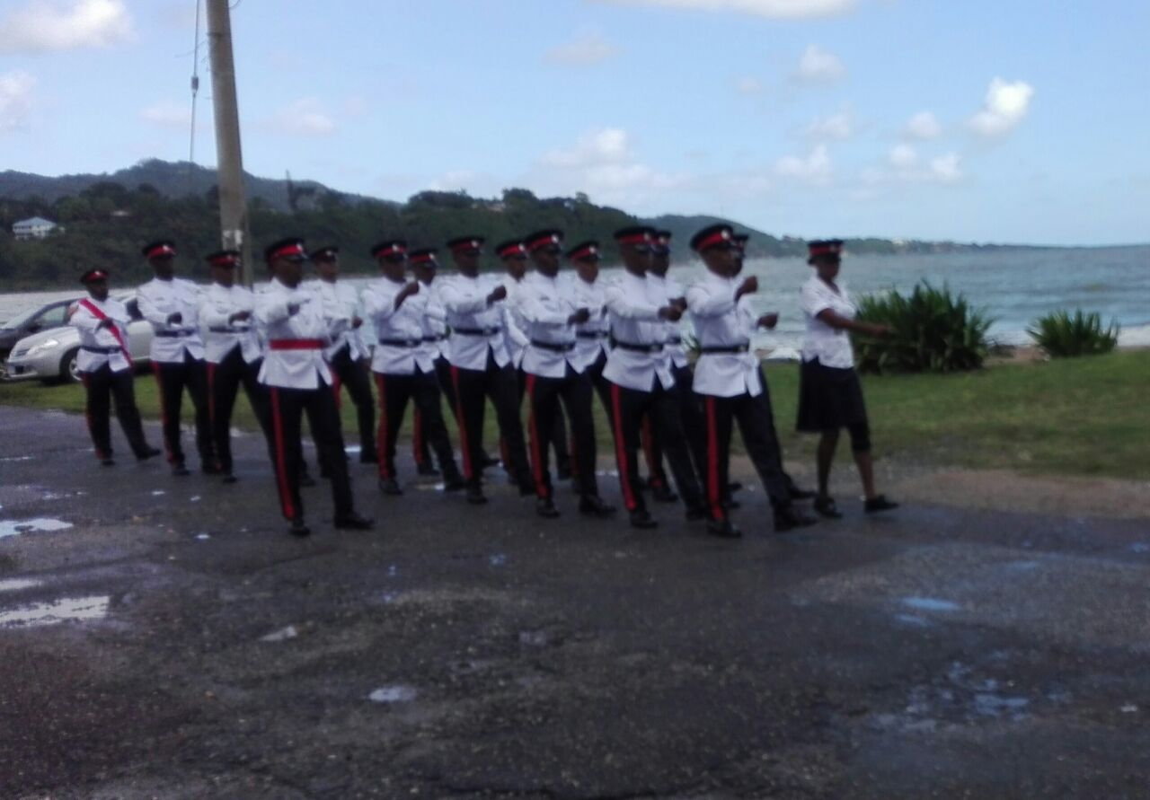 Members of the Jamaica Constabulary Force (JCF) participate in a parade at the opening of the Christmas session of the St Mary Circuit Court.