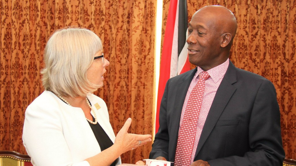 Canadian High Commissioner Carla Hogan Rufelds (left), Prime Minister Dr Keith Rowley (right).
